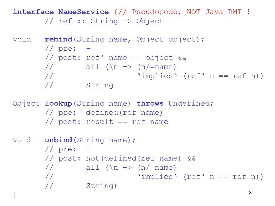 8 interface NameService {// Pseudocode, NOT Java RMI .