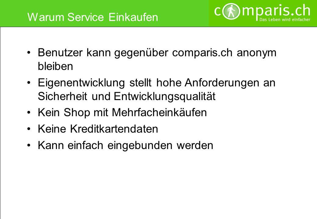 Warum Service Einkaufen Benutzer kann gegenüber comparis.ch anonym bleiben Eigenentwicklung stellt hohe Anforderungen an Sicherheit und Entwicklungsqualität Kein Shop mit Mehrfacheinkäufen Keine Kreditkartendaten Kann einfach eingebunden werden