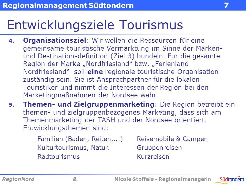 Regionalmanagement Südtondern RegionNord & Nicole Stoffels - Regionalmanagerin 8 Entwicklungsziele Tourismus 6.