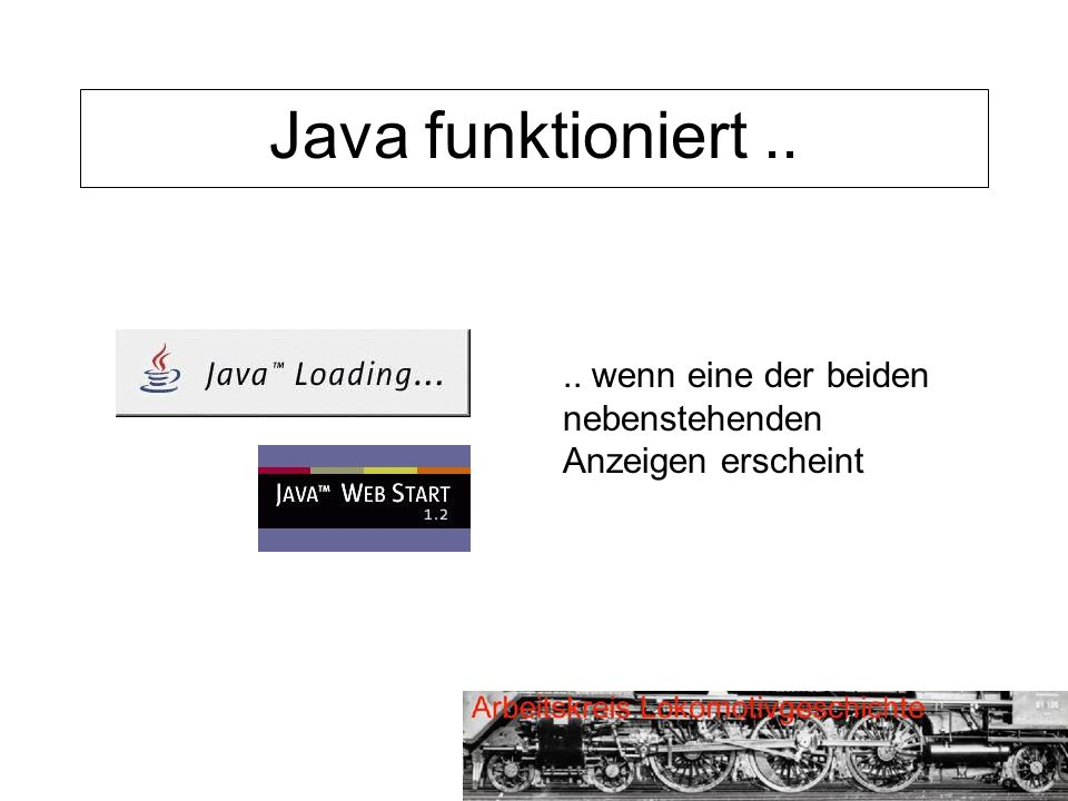 Java funktioniert.... wenn eine der beiden nebenstehenden Anzeigen erscheint