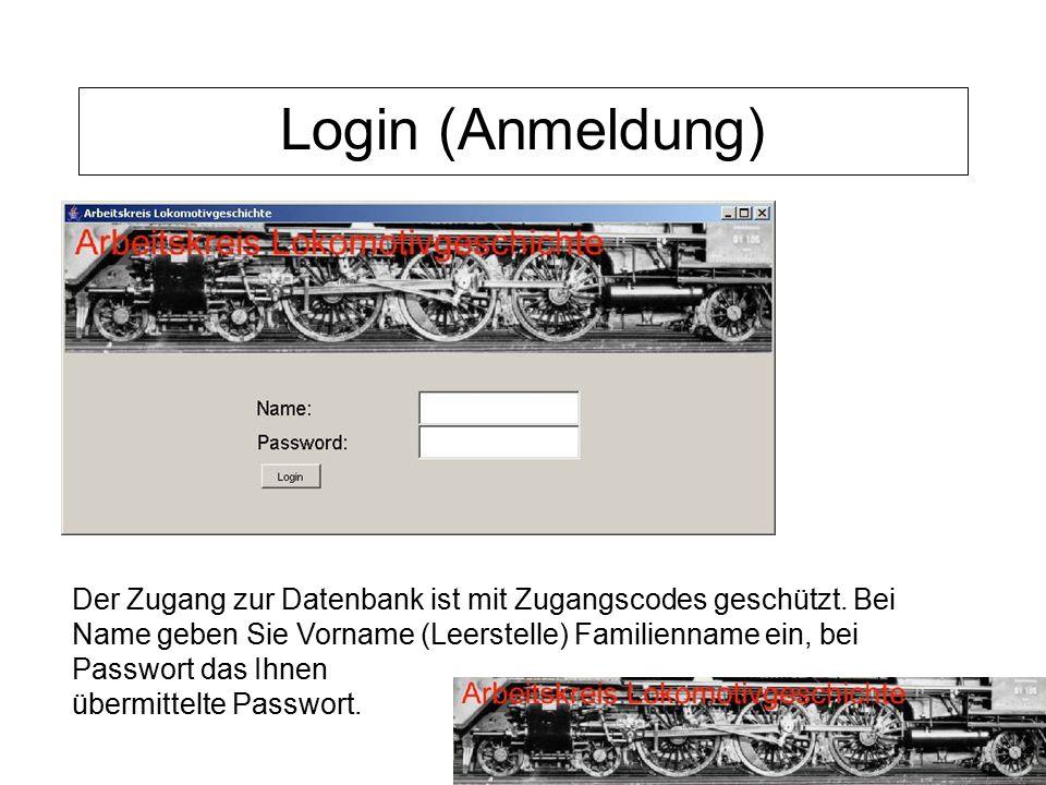 Login (Anmeldung) Der Zugang zur Datenbank ist mit Zugangscodes geschützt. Bei Name geben Sie Vorname (Leerstelle) Familienname ein, bei Passwort das