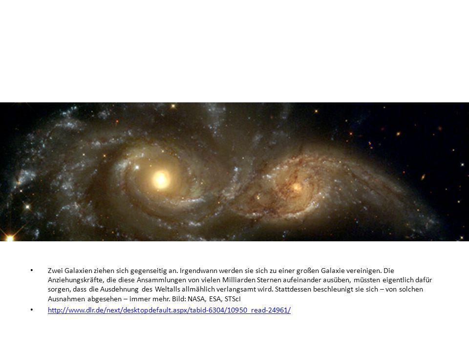 Zwei Galaxien ziehen sich gegenseitig an. Irgendwann werden sie sich zu einer großen Galaxie vereinigen. Die Anziehungskräfte, die diese Ansammlungen