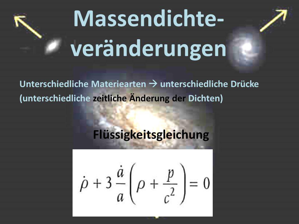 Massendichte- veränderungen Unterschiedliche Materiearten  unterschiedliche Drücke (unterschiedliche zeitliche Änderung der Dichten) Flüssigkeitsglei