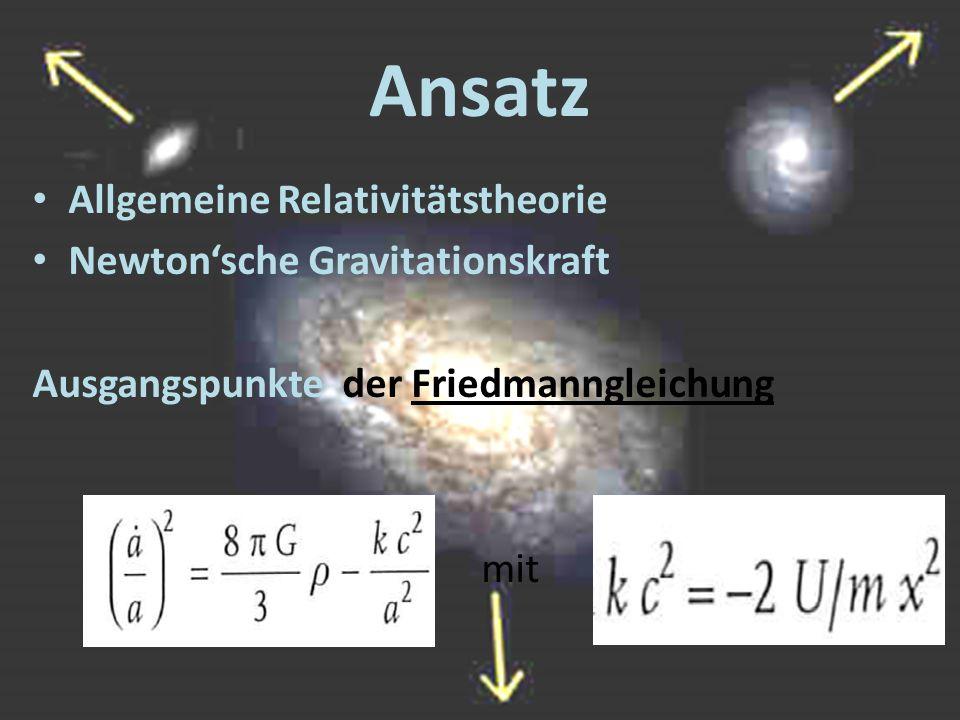 Ansatz Allgemeine Relativitätstheorie Newton'sche Gravitationskraft Ausgangspunkte der Friedmanngleichung mit