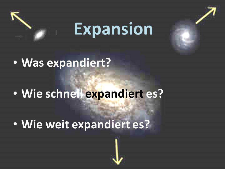 Expansion Was expandiert? Wie schnell expandiert es? Wie weit expandiert es?