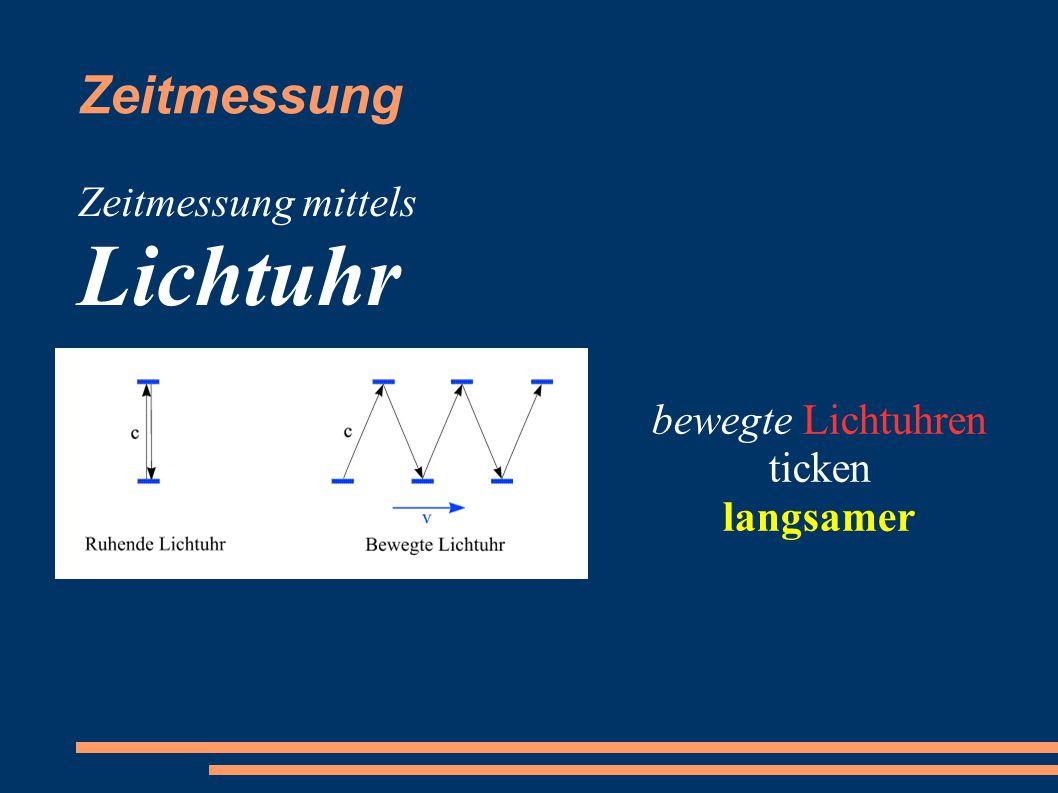 Zeitmessung Zeitmessung mittels Lichtuhr bewegte Lichtuhren ticken langsamer