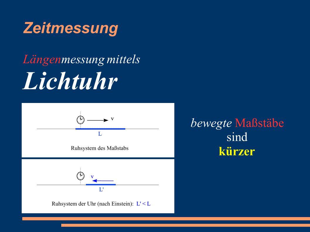 Zeitmessung Längenmessung mittels Lichtuhr bewegte Maßstäbe sind kürzer