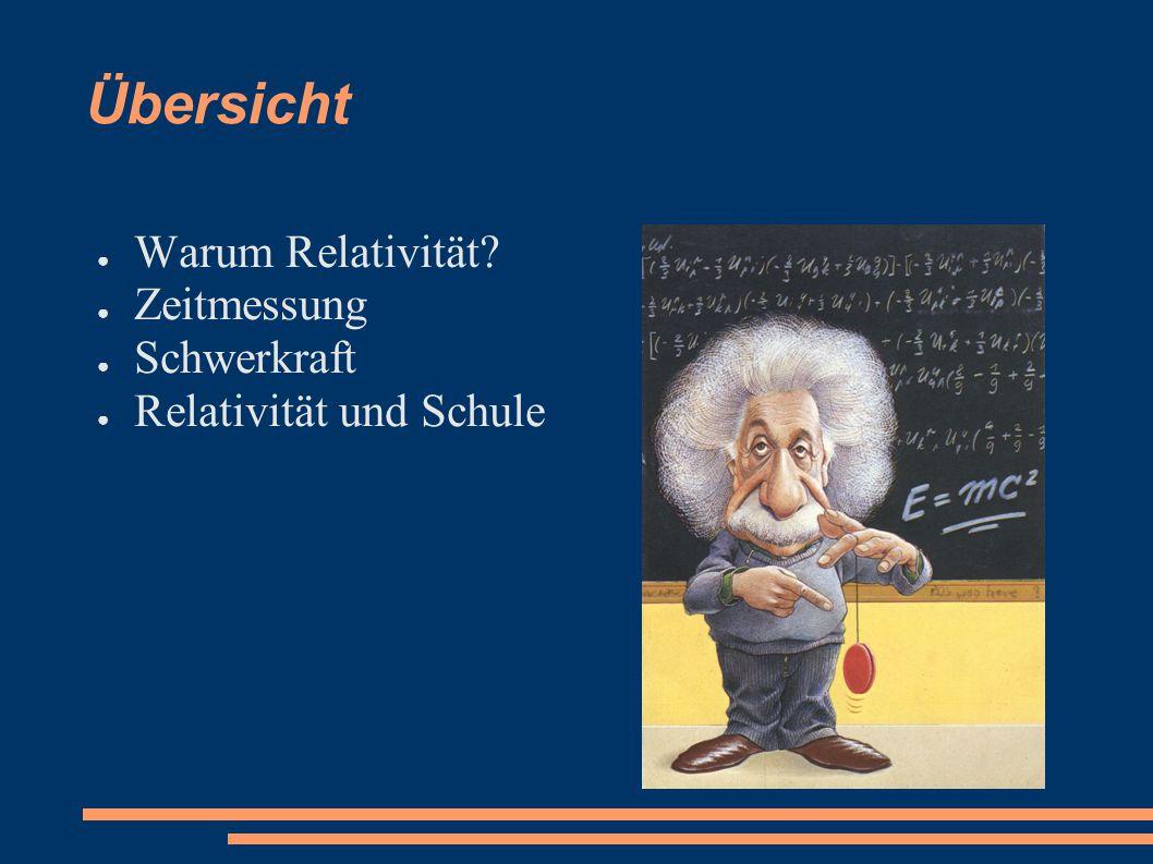 Übersicht ● Warum Relativität? ● Zeitmessung ● Schwerkraft ● Relativität und Schule