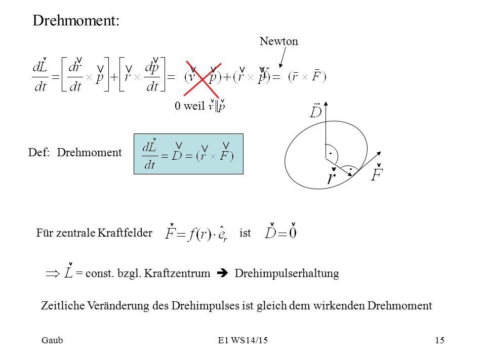 Drehmoment: 0 weil Newton Def: Drehmoment Für zentrale Kraftfelderist = const.