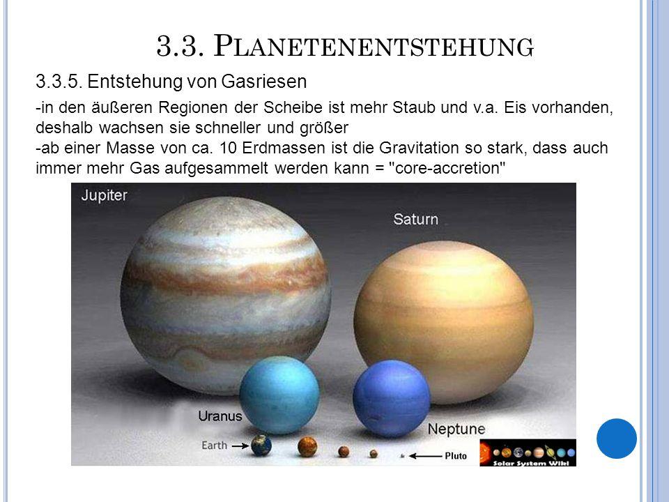 3.3. P LANETENENTSTEHUNG -in den äußeren Regionen der Scheibe ist mehr Staub und v.a. Eis vorhanden, deshalb wachsen sie schneller und größer -ab eine