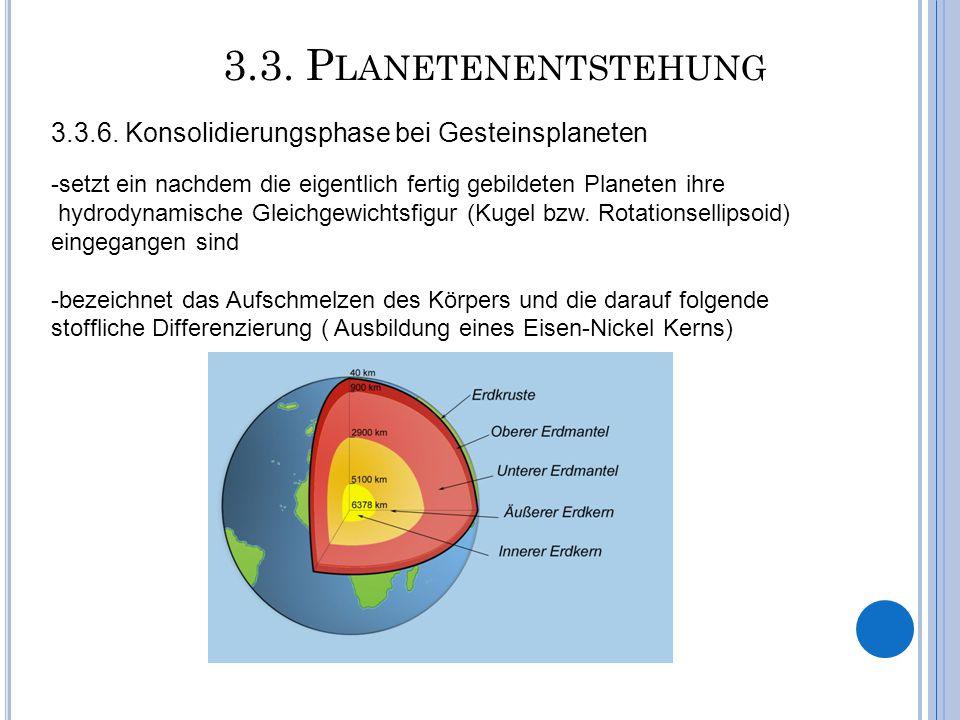 3.3. P LANETENENTSTEHUNG 3.3.6. Konsolidierungsphase bei Gesteinsplaneten -setzt ein nachdem die eigentlich fertig gebildeten Planeten ihre hydrodynam
