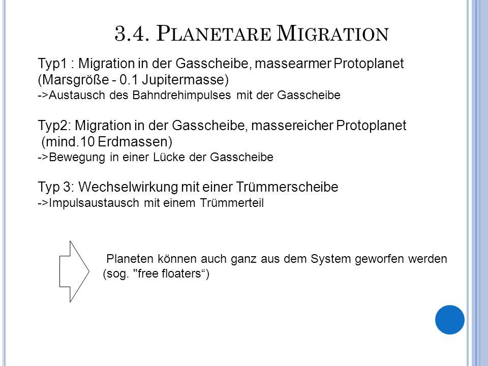 3.4. P LANETARE M IGRATION Typ1 : Migration in der Gasscheibe, massearmer Protoplanet (Marsgröße - 0.1 Jupitermasse) ->Austausch des Bahndrehimpulses