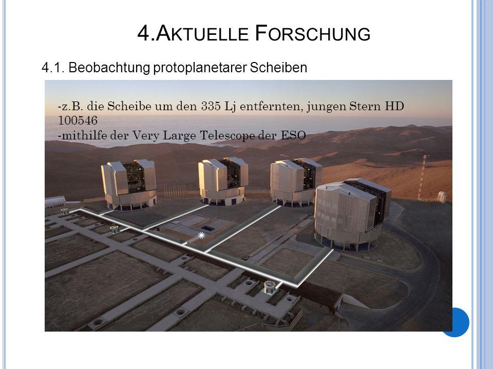 4.A KTUELLE F ORSCHUNG 4.1. Beobachtung protoplanetarer Scheiben -z.B. die Scheibe um den 335 Lj entfernten, jungen Stern HD 100546 -mithilfe der Very