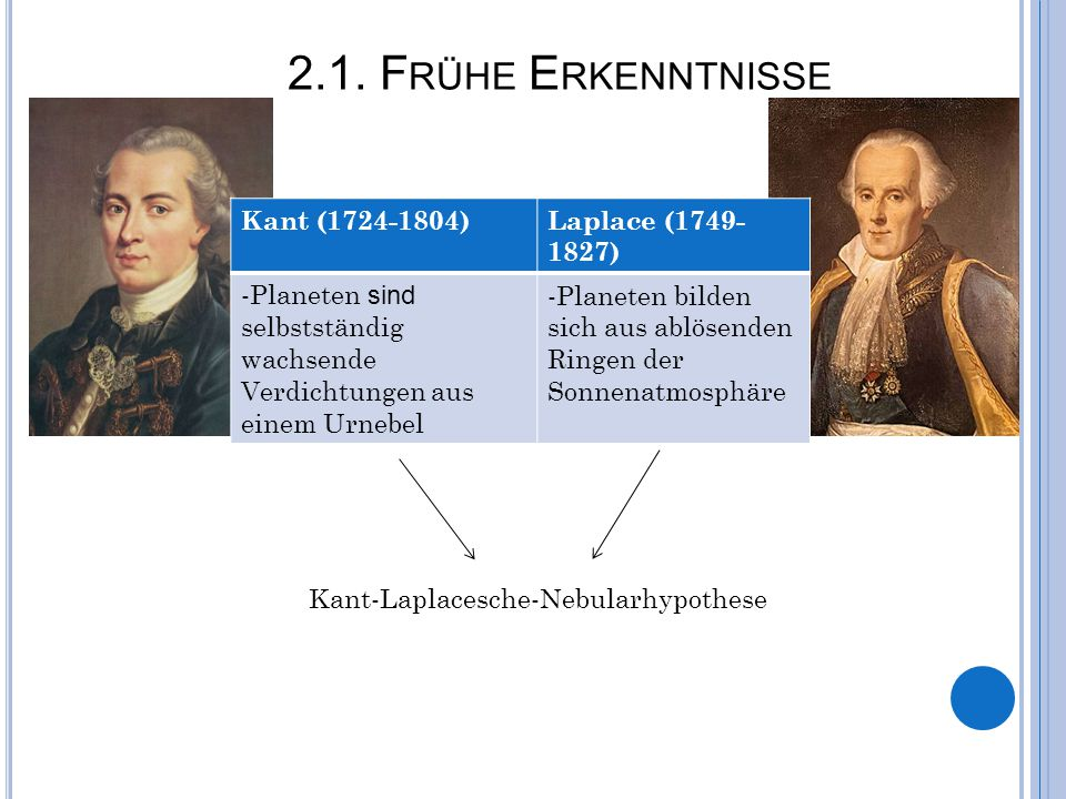 2.1. F RÜHE E RKENNTNISSE Kant (1724-1804)Laplace (1749- 1827) -Planeten sind selbstständig wachsende Verdichtungen aus einem Urnebel -Planeten bilden