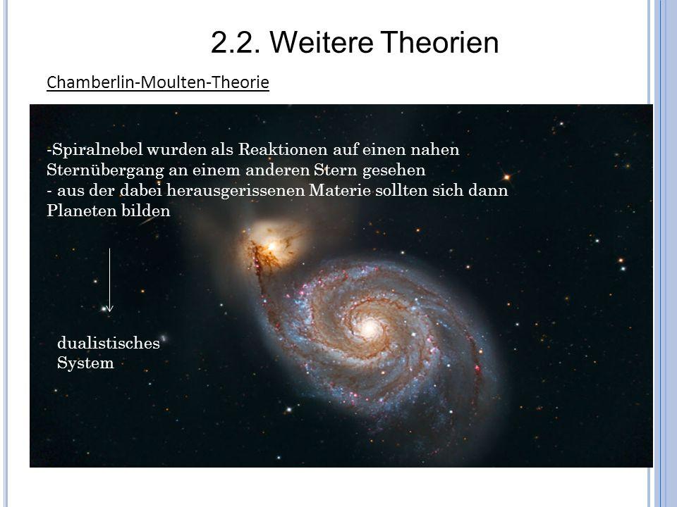 Chamberlin-Moulten-Theorie -Spiralnebel wurden als Reaktionen auf einen nahen Sternübergang an einem anderen Stern gesehen - aus der dabei herausgeris