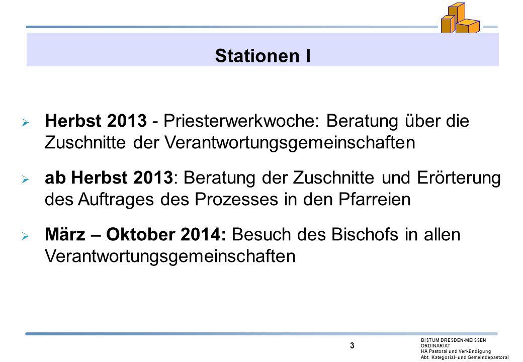 BISTUM DRESDEN-MEISSEN ORDINARIAT HA Pastoral und Verkündigung Abt. Kategorial- und Gemeindepastoral 3 Stationen I  Herbst 2013 - Priesterwerkwoche: