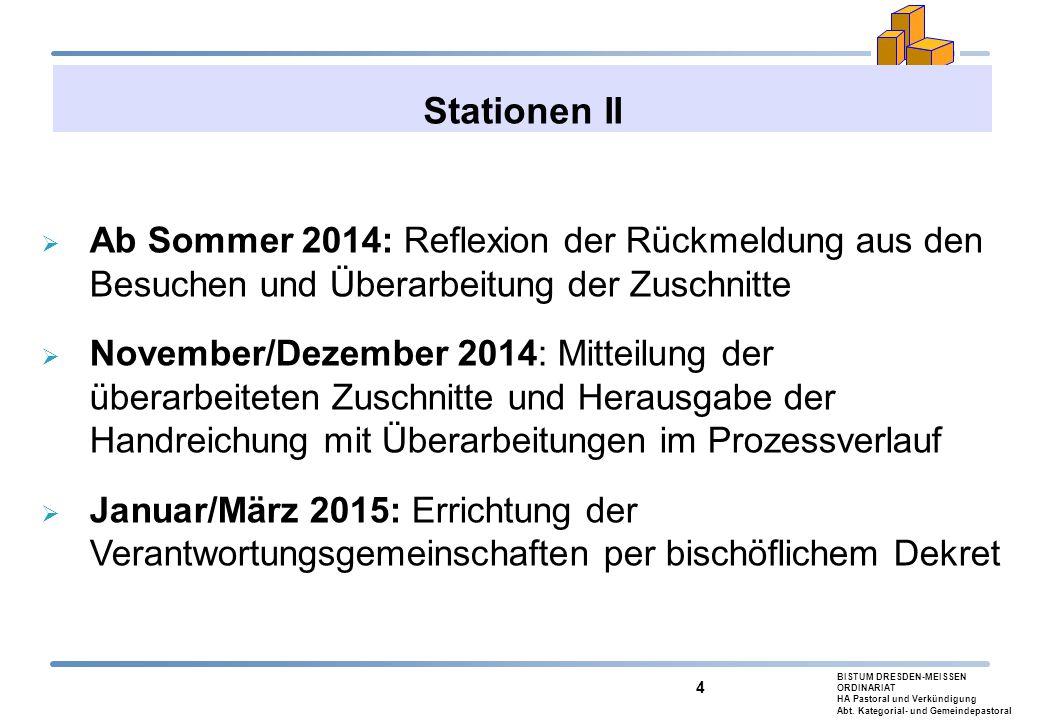 BISTUM DRESDEN-MEISSEN ORDINARIAT HA Pastoral und Verkündigung Abt. Kategorial- und Gemeindepastoral 4 Stationen II  Ab Sommer 2014: Reflexion der Rü