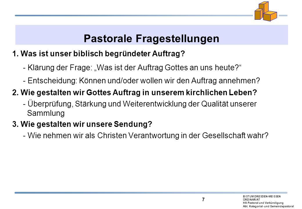 BISTUM DRESDEN-MEISSEN ORDINARIAT HA Pastoral und Verkündigung Abt. Kategorial- und Gemeindepastoral 7 Pastorale Fragestellungen 1. Was ist unser bibl