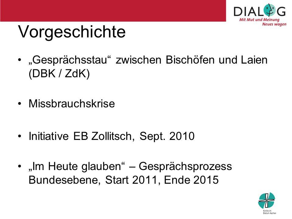"""Vorgeschichte """"Gesprächsstau"""" zwischen Bischöfen und Laien (DBK / ZdK) Missbrauchskrise Initiative EB Zollitsch, Sept. 2010 """"Im Heute glauben"""" – Gespr"""