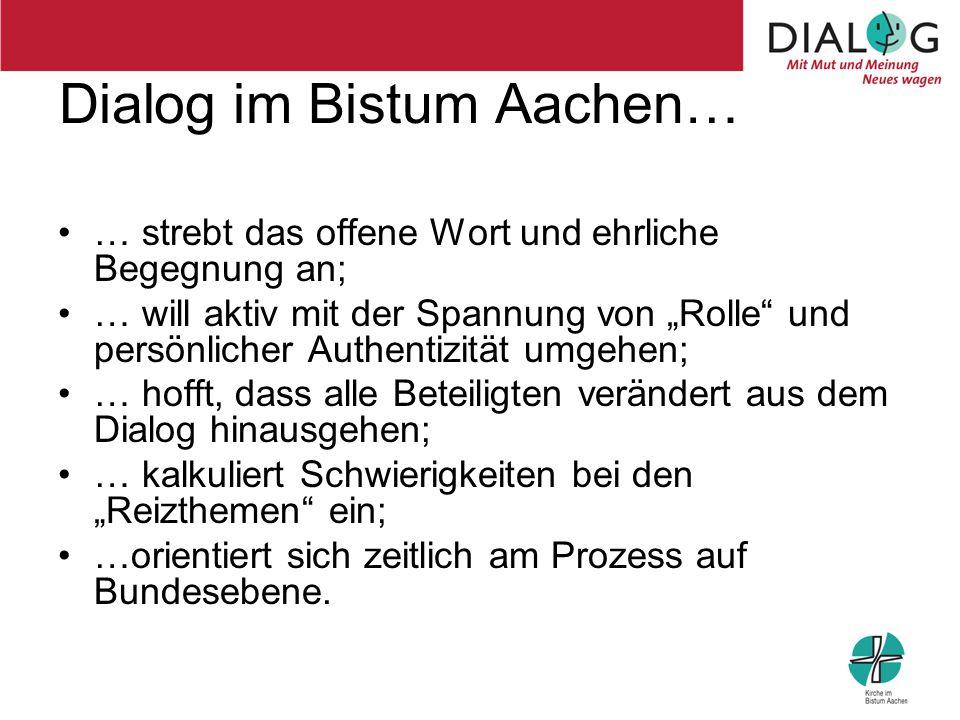 """Dialog im Bistum Aachen… … strebt das offene Wort und ehrliche Begegnung an; … will aktiv mit der Spannung von """"Rolle"""" und persönlicher Authentizität"""