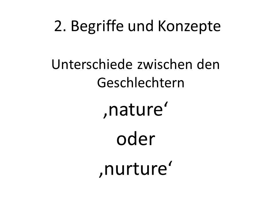 2. Begriffe und Konzepte Unterschiede zwischen den Geschlechtern 'nature' oder 'nurture'