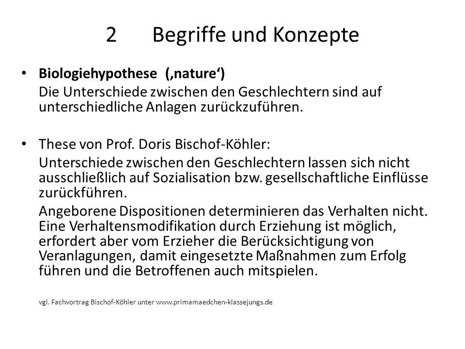 2Begriffe und Konzepte Biologiehypothese ('nature') Die Unterschiede zwischen den Geschlechtern sind auf unterschiedliche Anlagen zurückzuführen. Thes