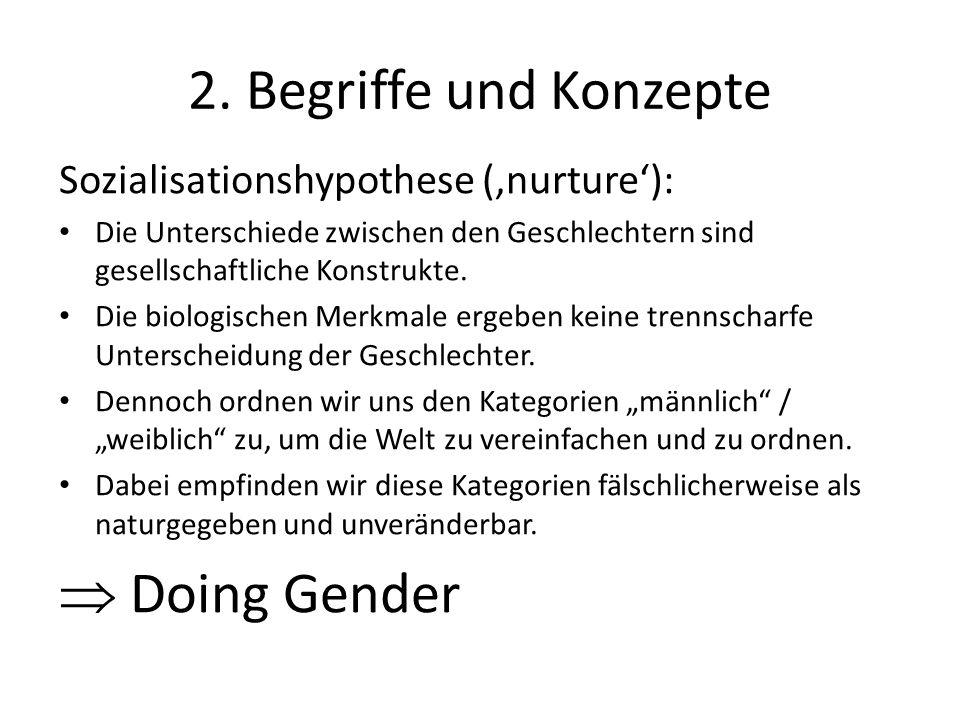 2. Begriffe und Konzepte Sozialisationshypothese ('nurture'): Die Unterschiede zwischen den Geschlechtern sind gesellschaftliche Konstrukte. Die biolo