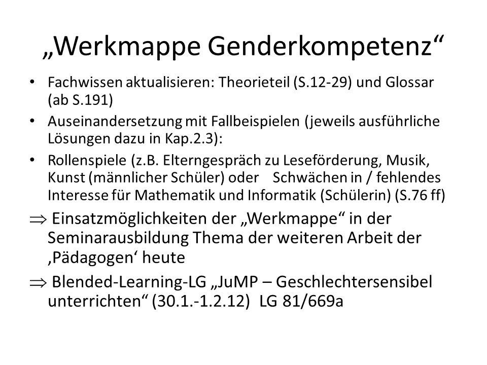 """""""Werkmappe Genderkompetenz"""" Fachwissen aktualisieren: Theorieteil (S.12-29) und Glossar (ab S.191) Auseinandersetzung mit Fallbeispielen (jeweils ausf"""