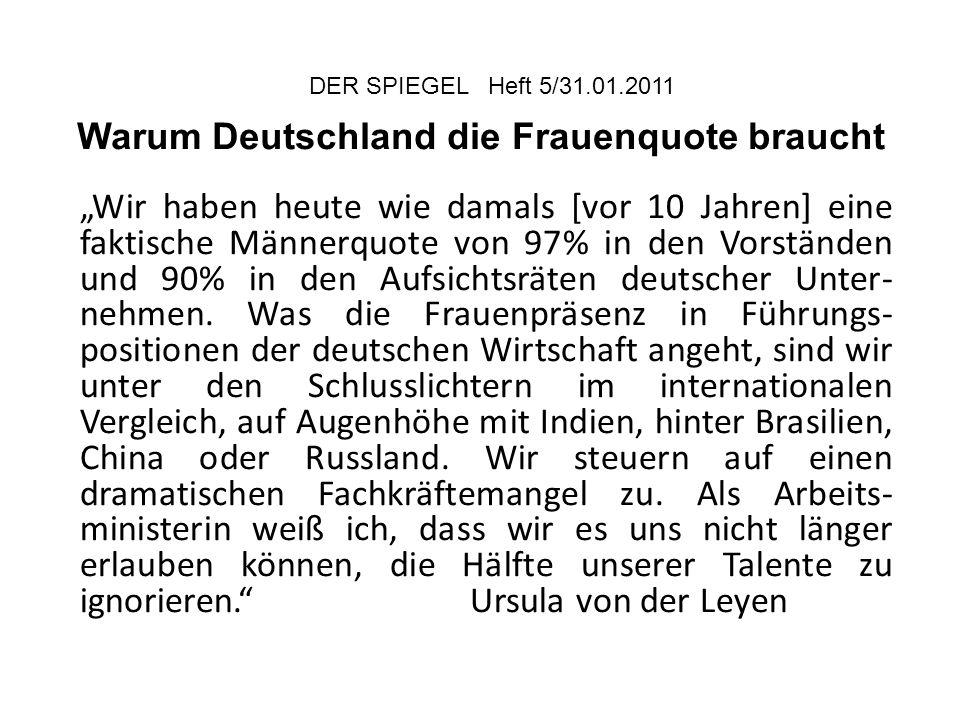 """DER SPIEGEL Heft 5/31.01.2011 Warum Deutschland die Frauenquote braucht """"Wir haben heute wie damals [vor 10 Jahren] eine faktische Männerquote von 97%"""