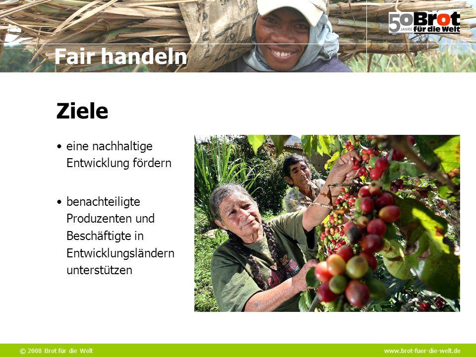 © 2008 Brot für die Weltwww.brot-fuer-die-welt.de Fair handeln eine nachhaltige Entwicklung fördern Ziele benachteiligte Produzenten und Beschäftigte