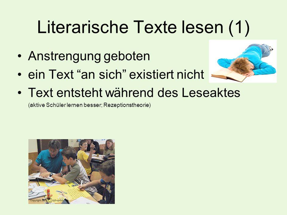 """Literarische Texte lesen (1) Anstrengung geboten ein Text """"an sich"""" existiert nicht Text entsteht während des Leseaktes (aktive Schüler lernen besser;"""