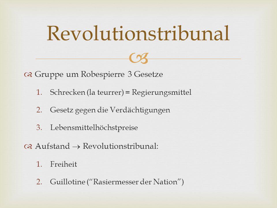   Gruppe um Robespierre 3 Gesetze 1.Schrecken (la teurrer) = Regierungsmittel 2.Gesetz gegen die Verdächtigungen 3.Lebensmittelhöchstpreise  Aufsta