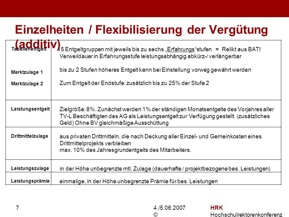 4./5.06.2007 © HRK Hochschulrektorenkonferenz 7 Einzelheiten / Flexibilisierung der Vergütung (additiv) Joachim D.