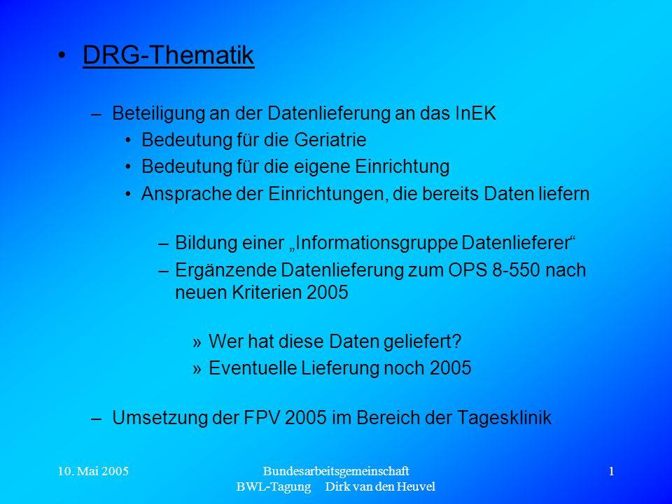 10. Mai 2005Bundesarbeitsgemeinschaft BWL-Tagung Dirk van den Heuvel 1 DRG-Thematik –Beteiligung an der Datenlieferung an das InEK Bedeutung für die G