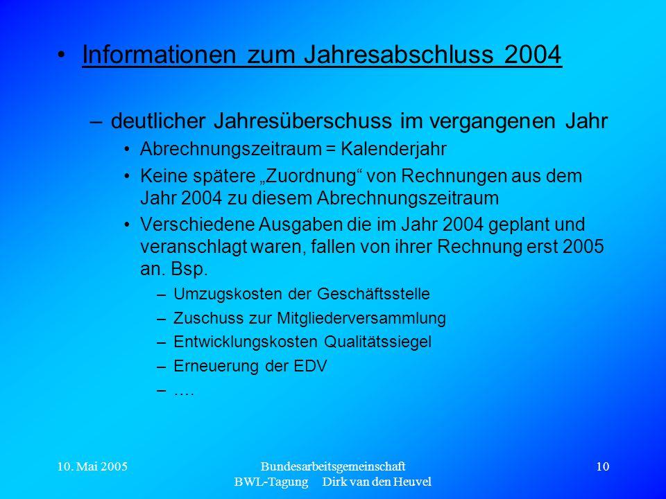 10. Mai 2005Bundesarbeitsgemeinschaft BWL-Tagung Dirk van den Heuvel 10 Informationen zum Jahresabschluss 2004 –deutlicher Jahresüberschuss im vergang