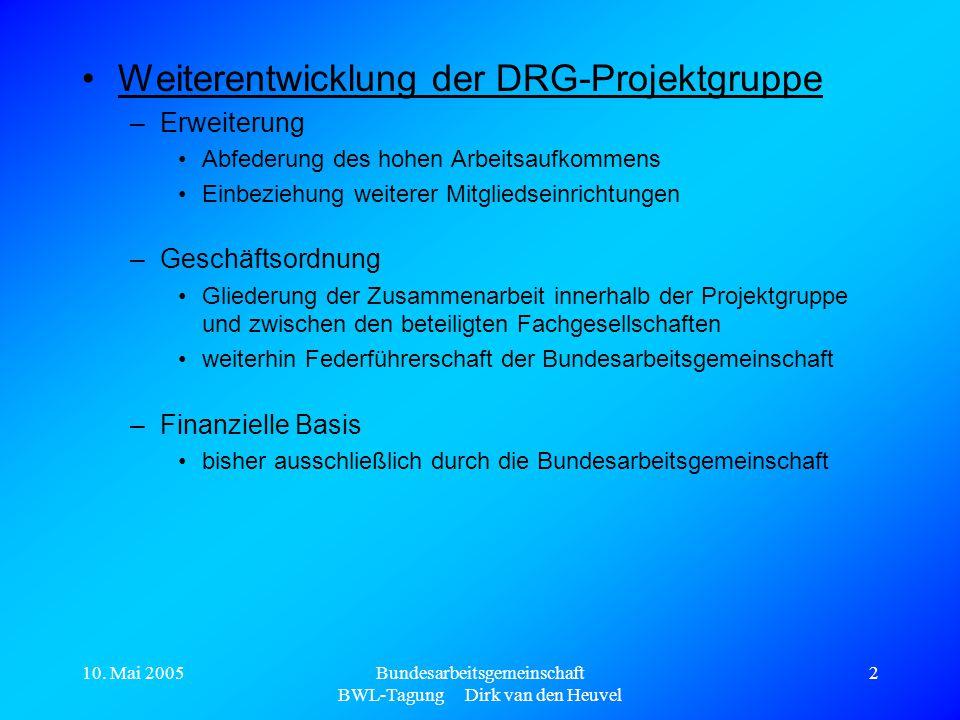 10. Mai 2005Bundesarbeitsgemeinschaft BWL-Tagung Dirk van den Heuvel 2 Weiterentwicklung der DRG-Projektgruppe –Erweiterung Abfederung des hohen Arbei