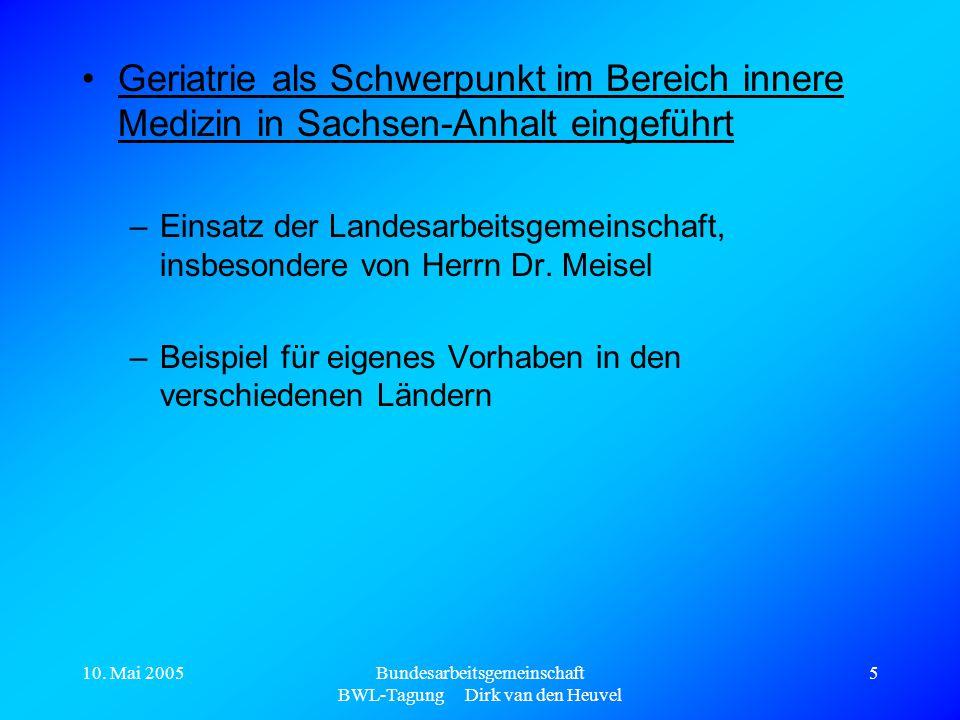 10. Mai 2005Bundesarbeitsgemeinschaft BWL-Tagung Dirk van den Heuvel 5 Geriatrie als Schwerpunkt im Bereich innere Medizin in Sachsen-Anhalt eingeführ