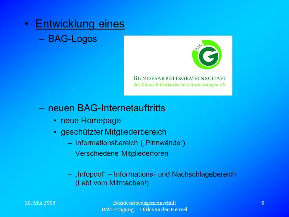 10. Mai 2005Bundesarbeitsgemeinschaft BWL-Tagung Dirk van den Heuvel 9 Entwicklung eines –BAG-Logos –neuen BAG-Internetauftritts neue Homepage geschüt