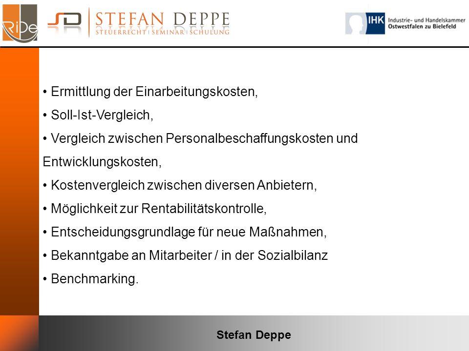 Stefan Deppe Ermittlung der Einarbeitungskosten, Soll-Ist-Vergleich, Vergleich zwischen Personalbeschaffungskosten und Entwicklungskosten, Kostenvergl
