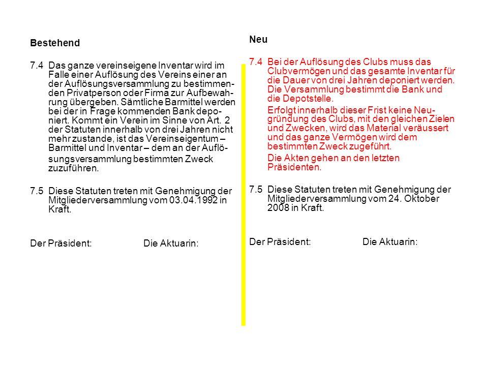 Bestehend 7.4Das ganze vereinseigene Inventar wird im Falle einer Auflösung des Vereins einer an der Auflösungsversammlung zu bestimmen- den Privatper