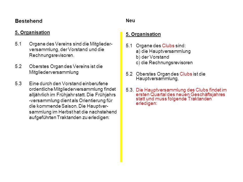 Bestehend 5. Organisation 5.1Organe des Vereins sind die Mitglieder- versammlung, der Vorstand und die Rechnungsrevisoren. 5.2Oberstes Organ des Verei