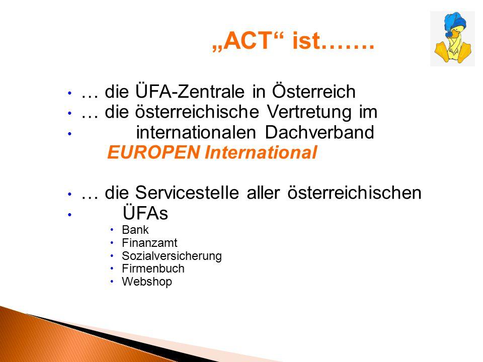… die ÜFA-Zentrale in Österreich … die österreichische Vertretung im internationalen Dachverband EUROPEN International … die Servicestelle aller öster