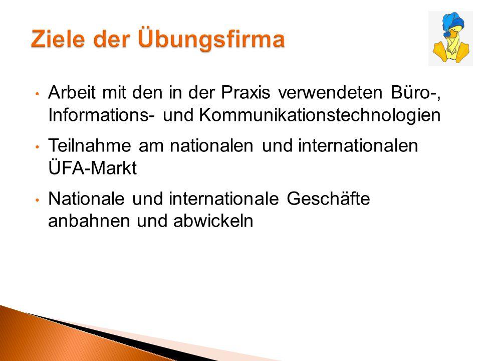 Arbeit mit den in der Praxis verwendeten Büro-, Informations- und Kommunikationstechnologien Teilnahme am nationalen und internationalen ÜFA-Markt Nat