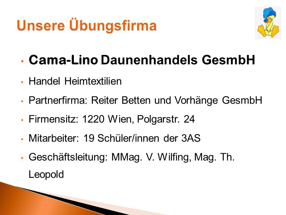 Cama-Lino Daunenhandels GesmbH Handel Heimtextilien Partnerfirma: Reiter Betten und Vorhänge GesmbH Firmensitz: 1220 Wien, Polgarstr. 24 Mitarbeiter: