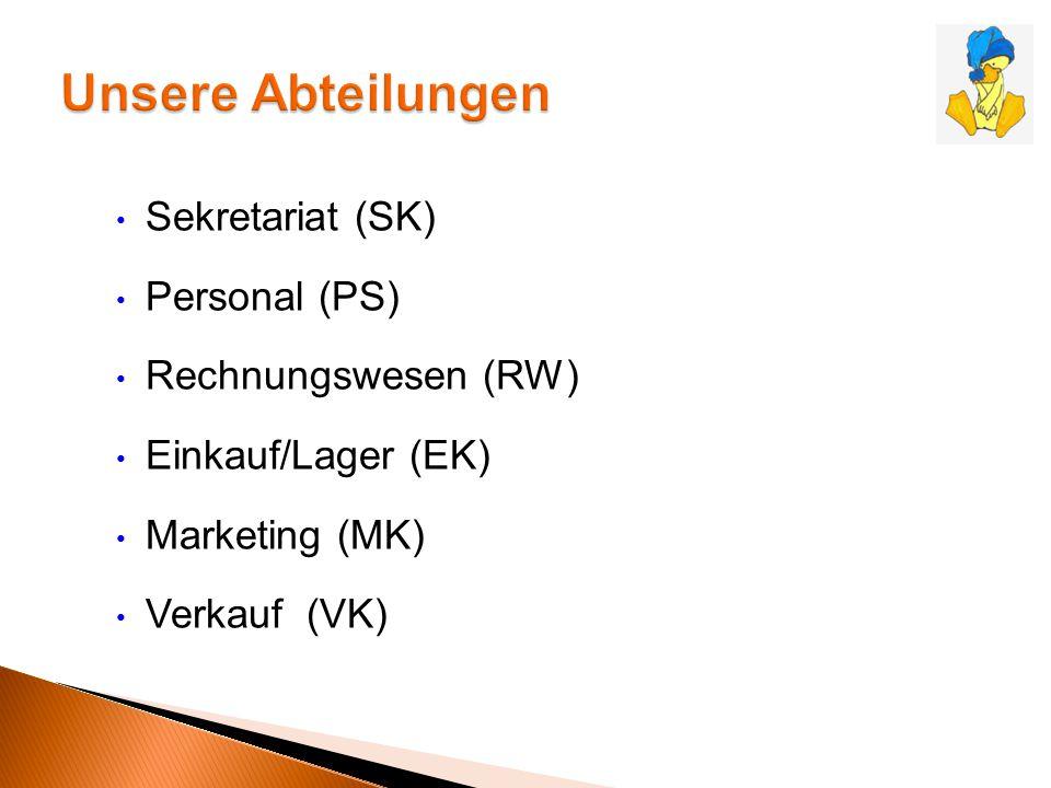 Sekretariat (SK) Personal (PS) Rechnungswesen (RW) Einkauf/Lager (EK) Marketing (MK) Verkauf (VK)