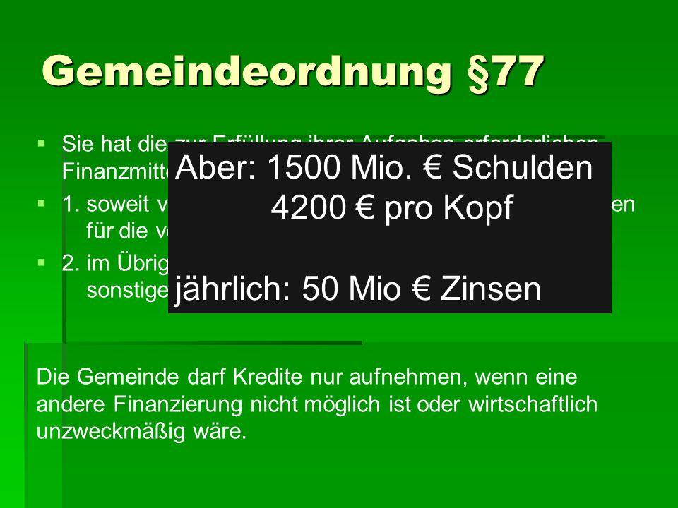 Gemeindeordnung §77   Sie hat die zur Erfüllung ihrer Aufgaben erforderlichen Finanzmittel   1.