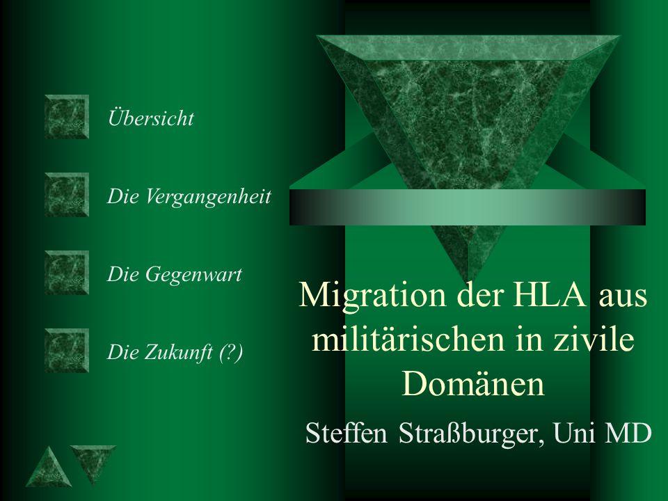 Migration der HLA aus militärischen in zivile Domänen Steffen Straßburger, Uni MD Übersicht Die Vergangenheit Die Gegenwart Die Zukunft (?)