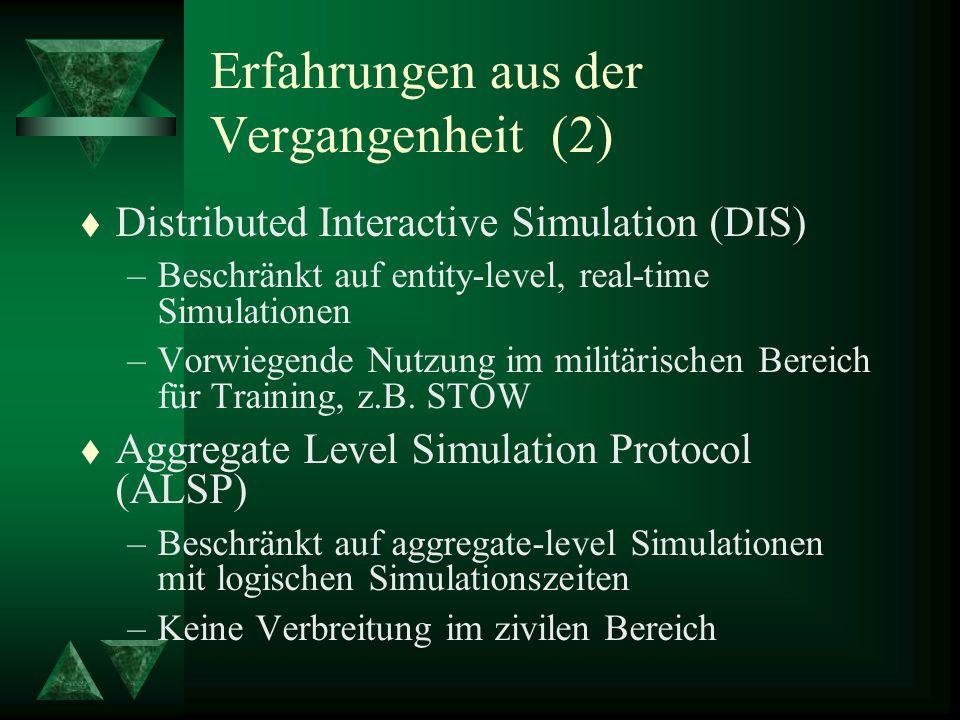Erfahrungen aus der Vergangenheit (2) t Distributed Interactive Simulation (DIS) –Beschränkt auf entity-level, real-time Simulationen –Vorwiegende Nutzung im militärischen Bereich für Training, z.B.
