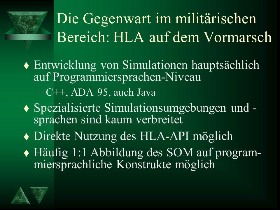 Die Gegenwart im militärischen Bereich: HLA auf dem Vormarsch t Entwicklung von Simulationen hauptsächlich auf Programmiersprachen-Niveau –C++, ADA 95