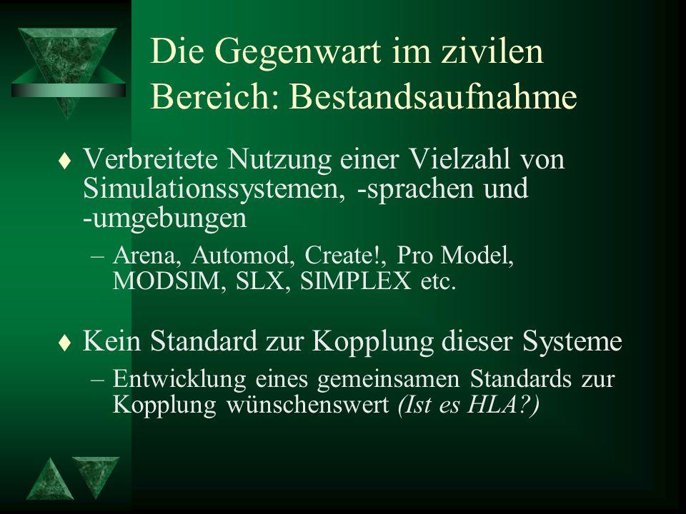 Die Gegenwart im zivilen Bereich: Bestandsaufnahme t Verbreitete Nutzung einer Vielzahl von Simulationssystemen, -sprachen und -umgebungen –Arena, Automod, Create!, Pro Model, MODSIM, SLX, SIMPLEX etc.